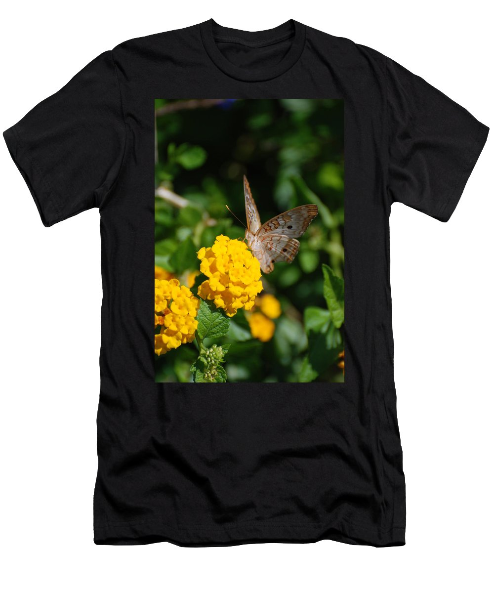 Butterfly Men's T-Shirt (Athletic Fit) featuring the photograph Yellow Flower Brown Fly by Rob Hans