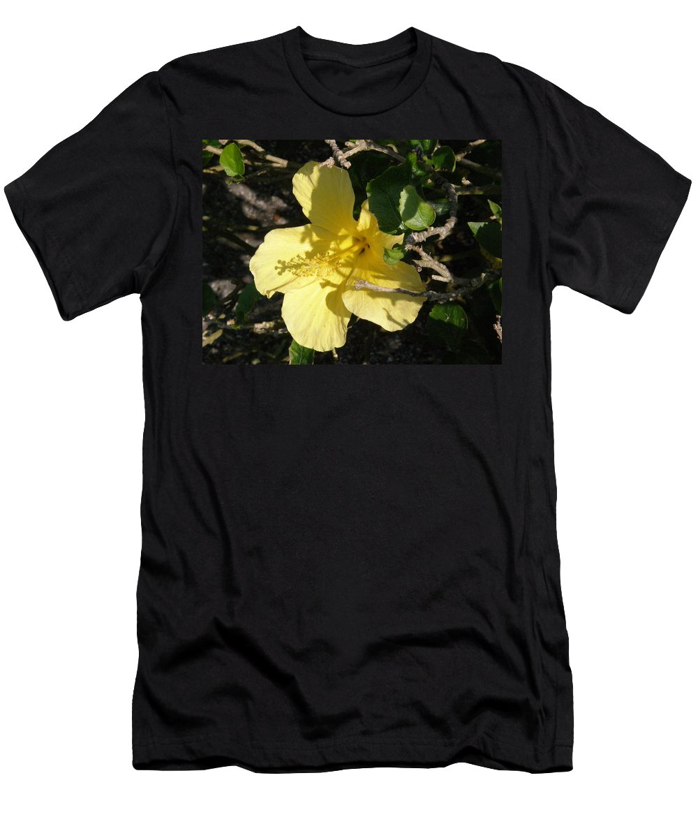 Yellow Men's T-Shirt (Athletic Fit) featuring the photograph Yellow Flower In The Shade by Alice Markham