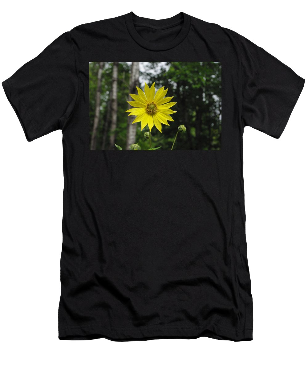 Yellow Men's T-Shirt (Athletic Fit) featuring the photograph Yellow Flower In Woods by Alice Markham