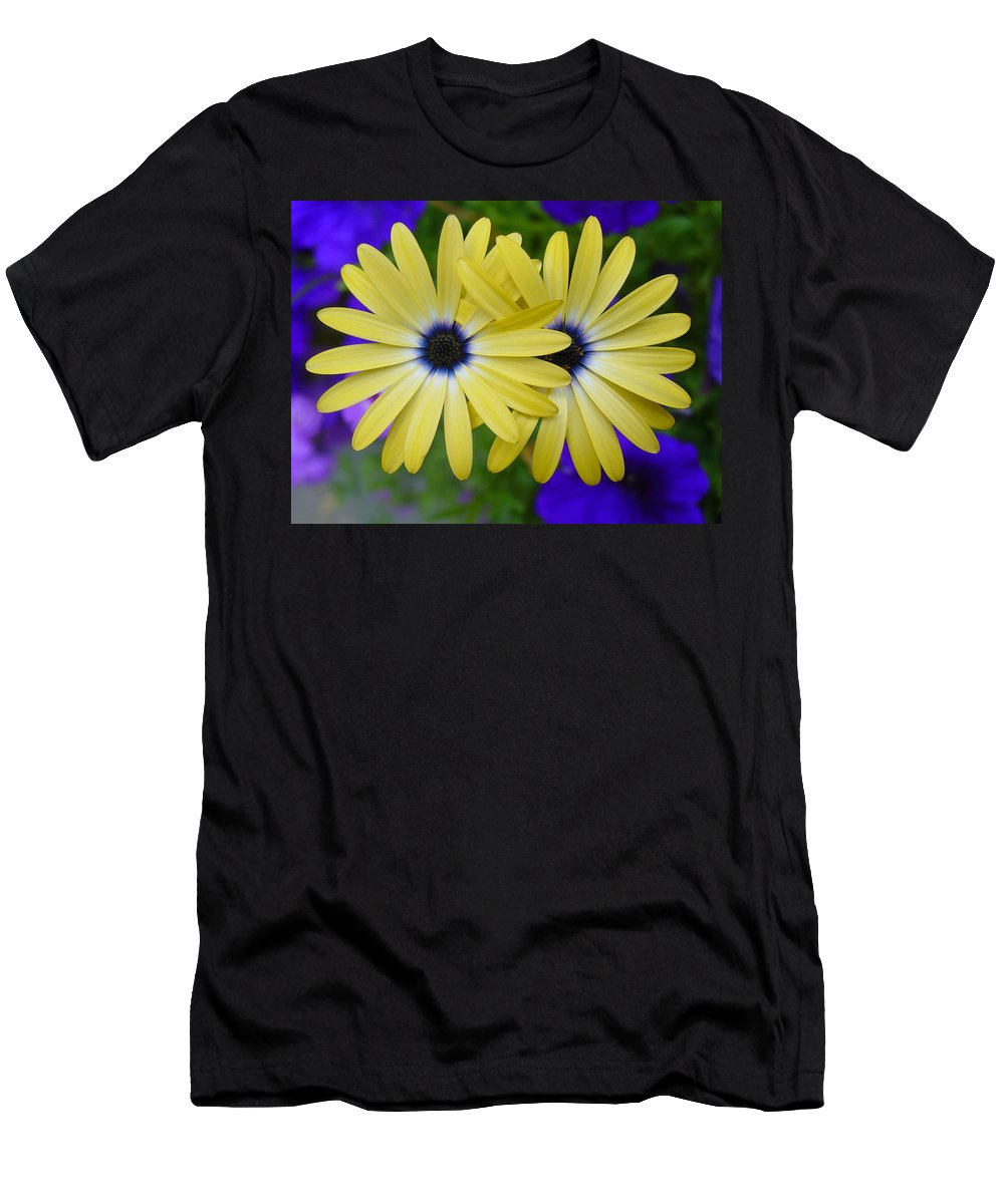 Flowers Men's T-Shirt (Athletic Fit) featuring the photograph Yellow Flowers Embracing by Jester Rawls