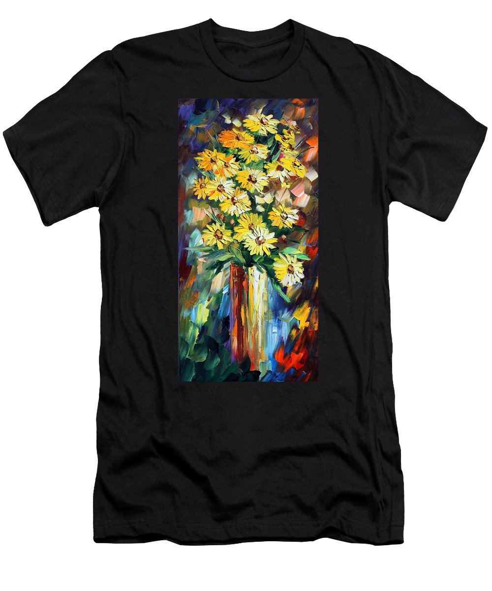 Afremov Men's T-Shirt (Athletic Fit) featuring the painting Yellow Flowers by Leonid Afremov