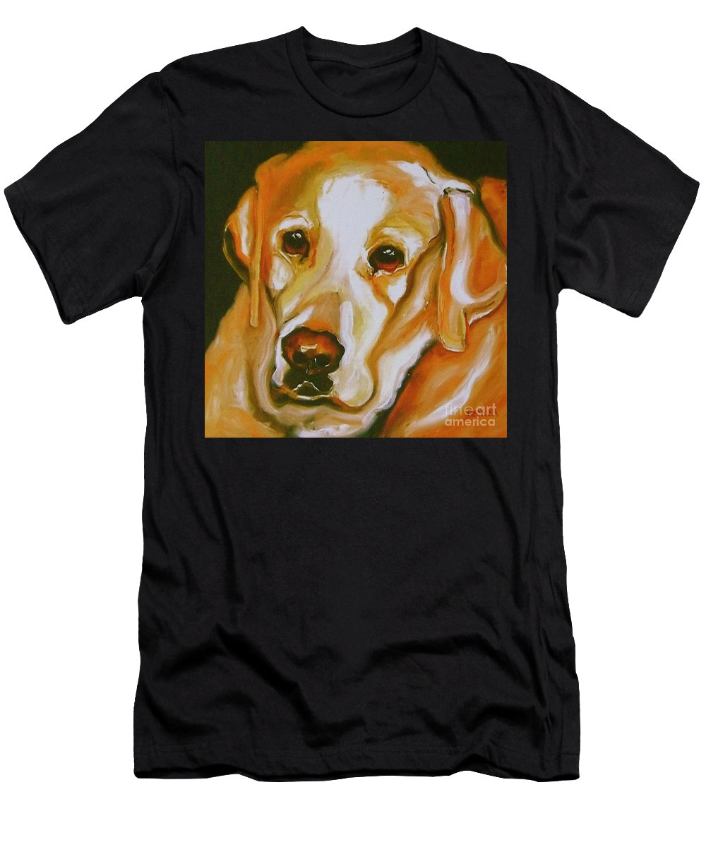 Oil Men's T-Shirt (Athletic Fit) featuring the painting Yellow Lab Amazing Grace by Susan A Becker