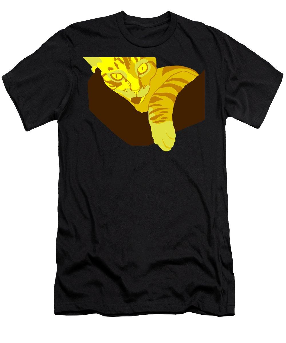 Cat Men's T-Shirt (Athletic Fit) featuring the digital art Yellow Lick by John Berndt