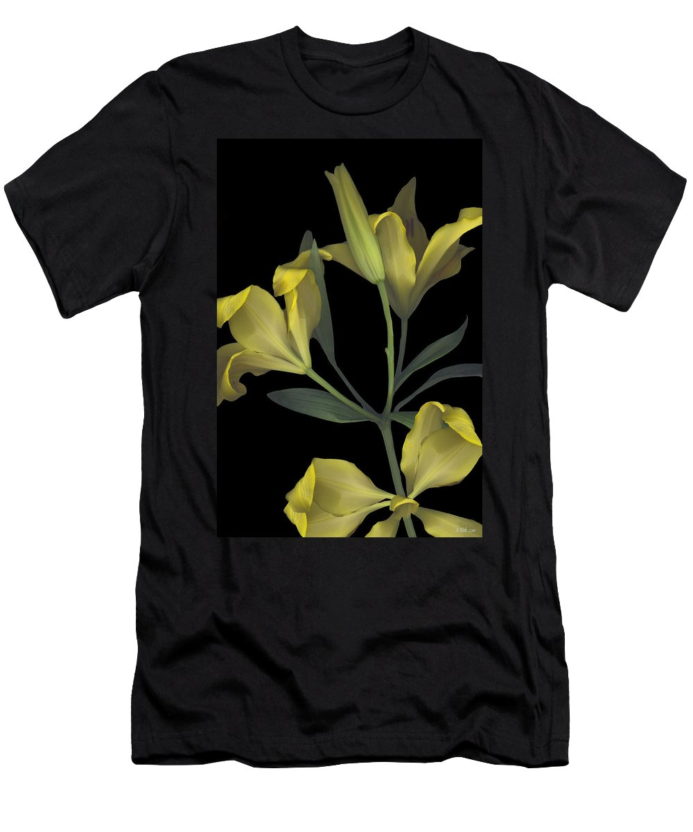 Tiger Lily Lilly Yellow Flower Plant Stem Leaf Leaves Petal Bow Bouquet Black Green Happy Bright Floral Gift Men's T-Shirt (Athletic Fit) featuring the photograph Yellow Lily On Black by Heather Kirk