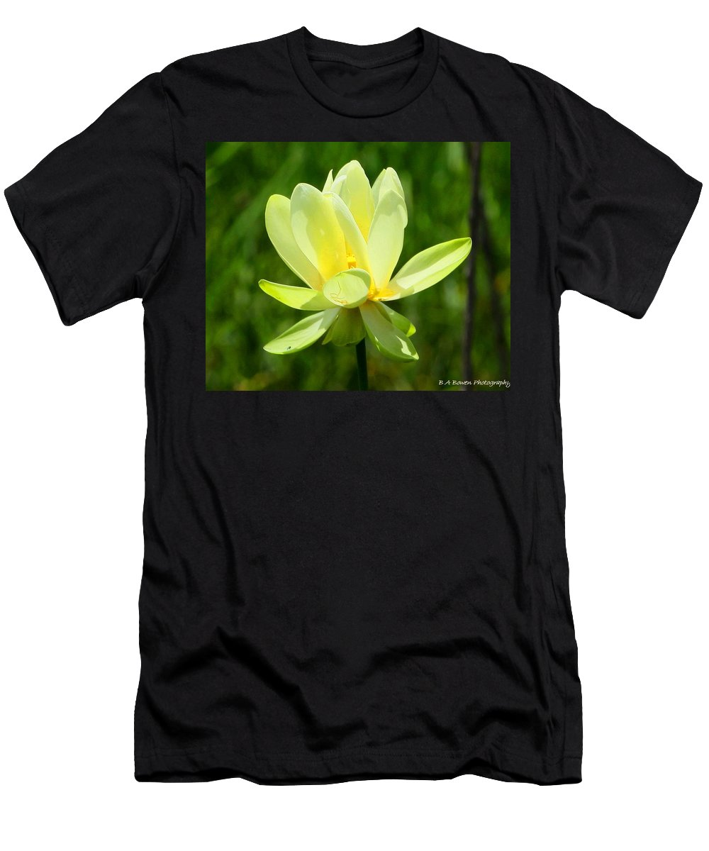 Yellow Lotus Men's T-Shirt (Athletic Fit) featuring the photograph Yellow Lotus by Barbara Bowen