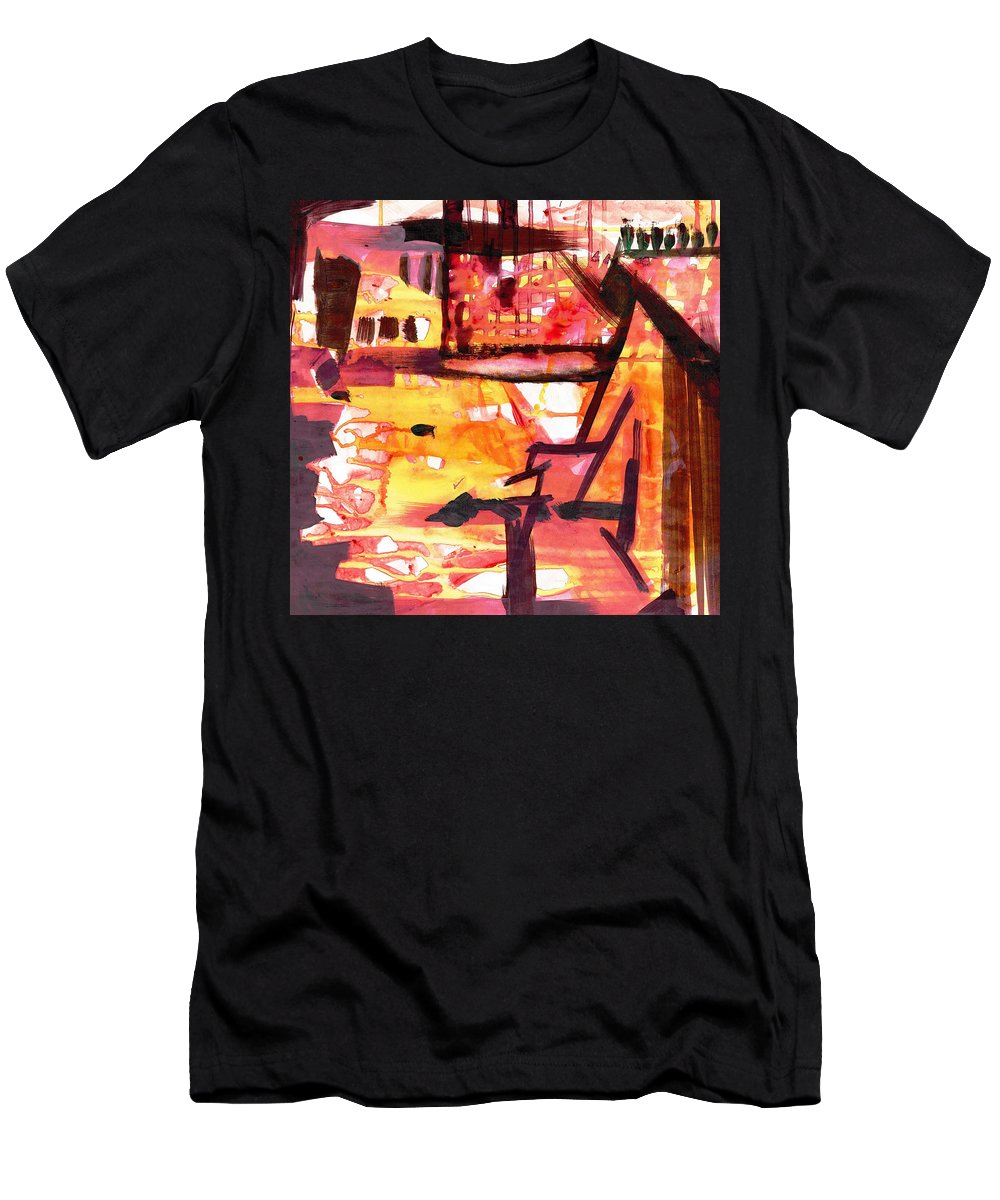 Men's T-Shirt (Athletic Fit) featuring the painting Yellow Maroon And Brown Abstract by Makarand Joshi