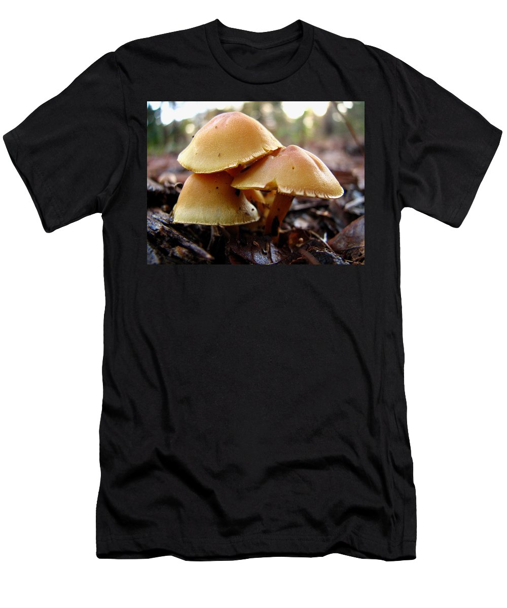 Mushroom Men's T-Shirt (Athletic Fit) featuring the photograph Yellow Mushrooms 1 by J M Farris Photography