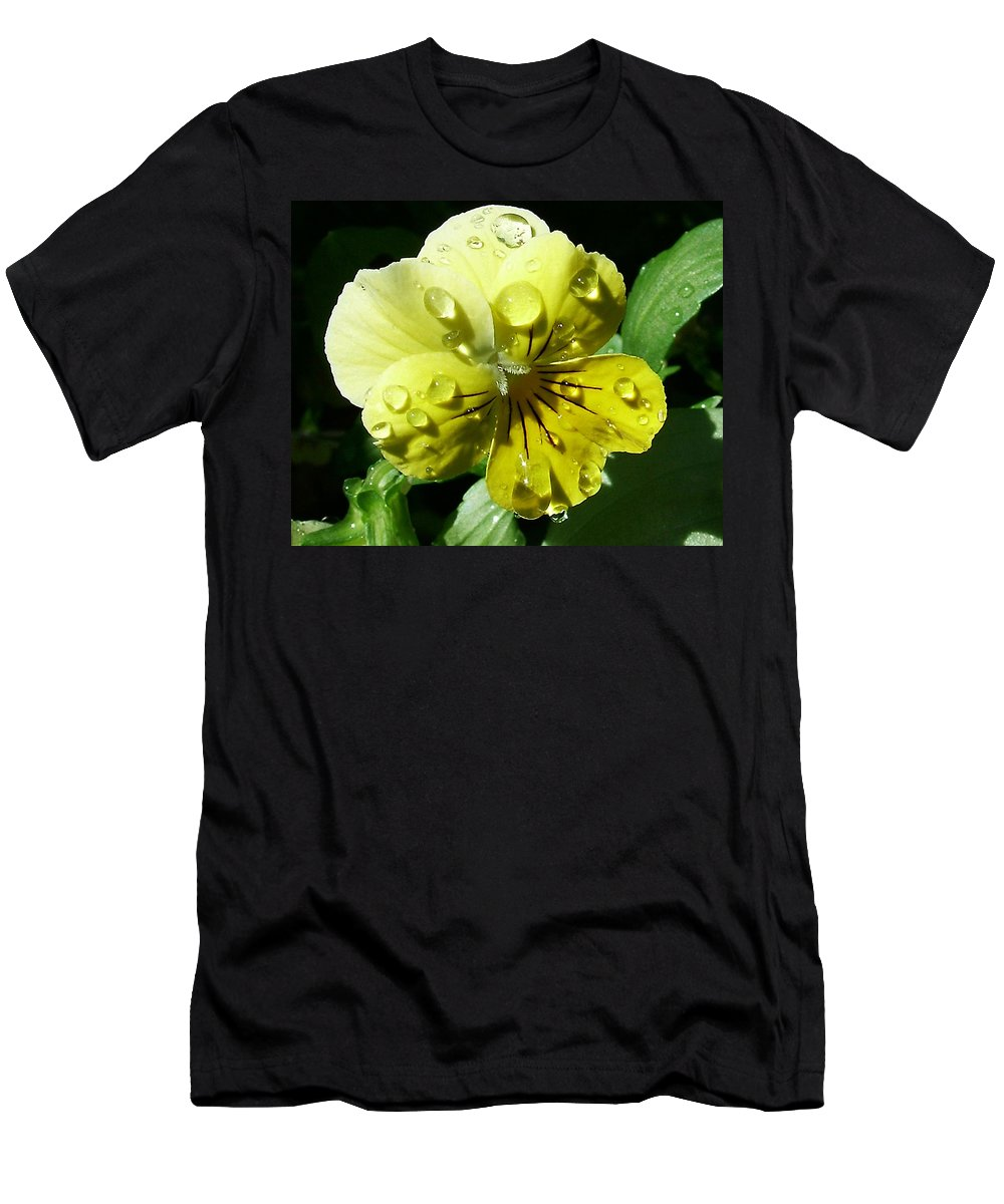 Flower Men's T-Shirt (Athletic Fit) featuring the photograph Yellow Pansy by Anthony Jones