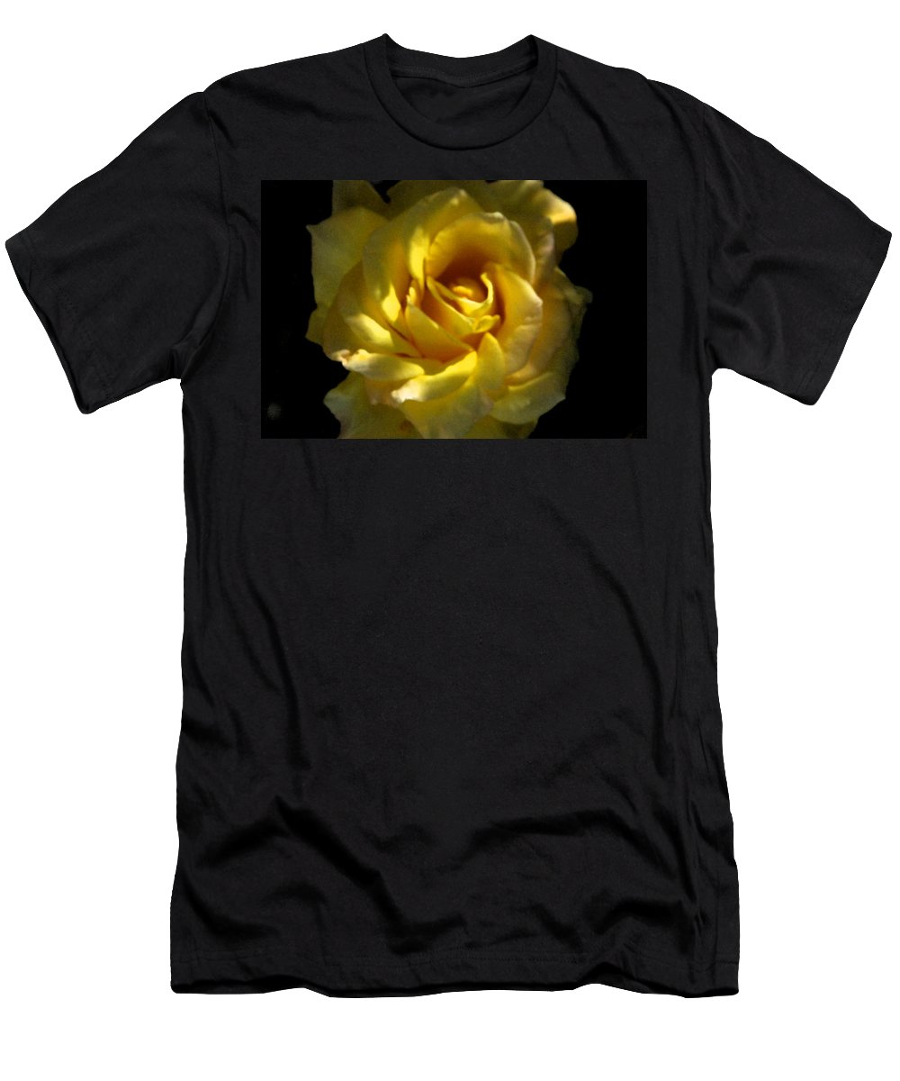 Yellow Men's T-Shirt (Athletic Fit) featuring the photograph Yellow Rose by Carol Eliassen