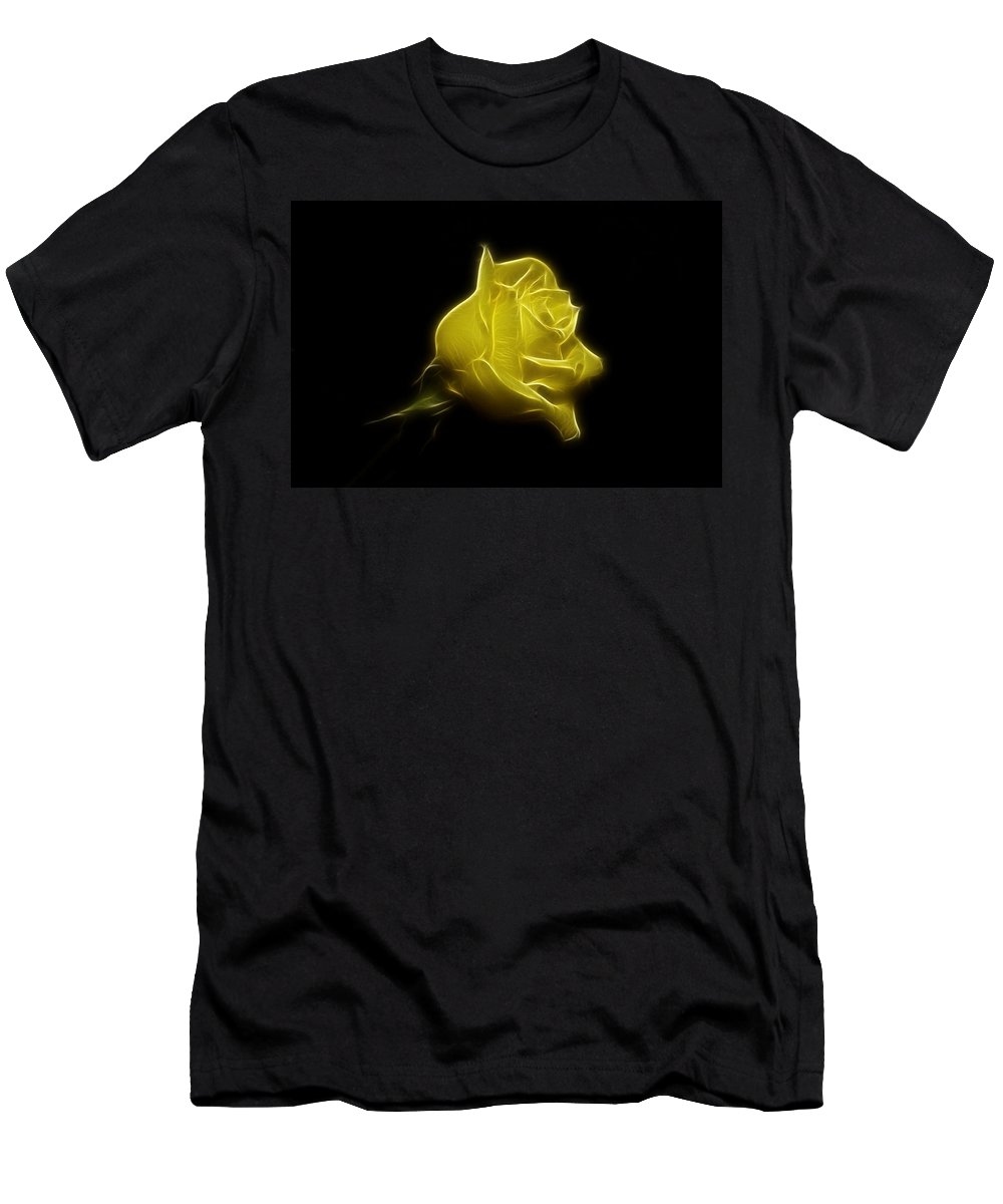 Rose Men's T-Shirt (Athletic Fit) featuring the photograph Yellow Rose by Sandy Keeton