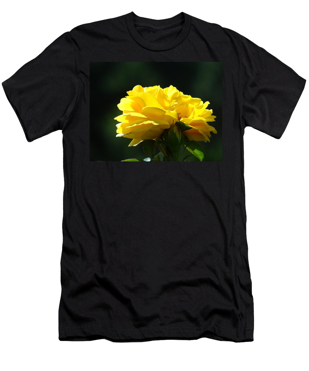 Rose Men's T-Shirt (Athletic Fit) featuring the photograph Yellow Rose Sunlit Rose Garden Landscape Art Baslee Troutman by Baslee Troutman