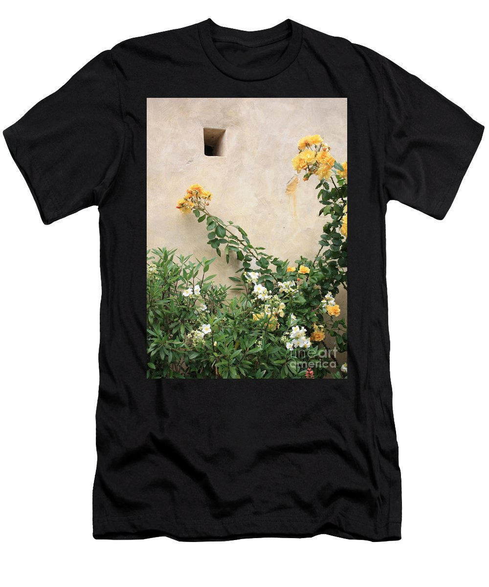 Yellow Roses Men's T-Shirt (Athletic Fit) featuring the photograph Yellow Roses And Tiny Window At Carmel Mission by Carol Groenen
