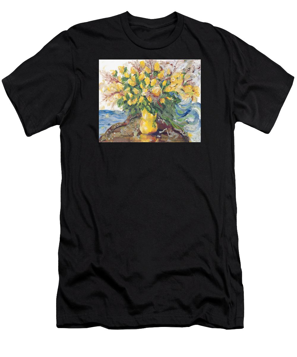 Floral Art Men's T-Shirt (Athletic Fit) featuring the painting Yellow Roses by Nira Schwartz