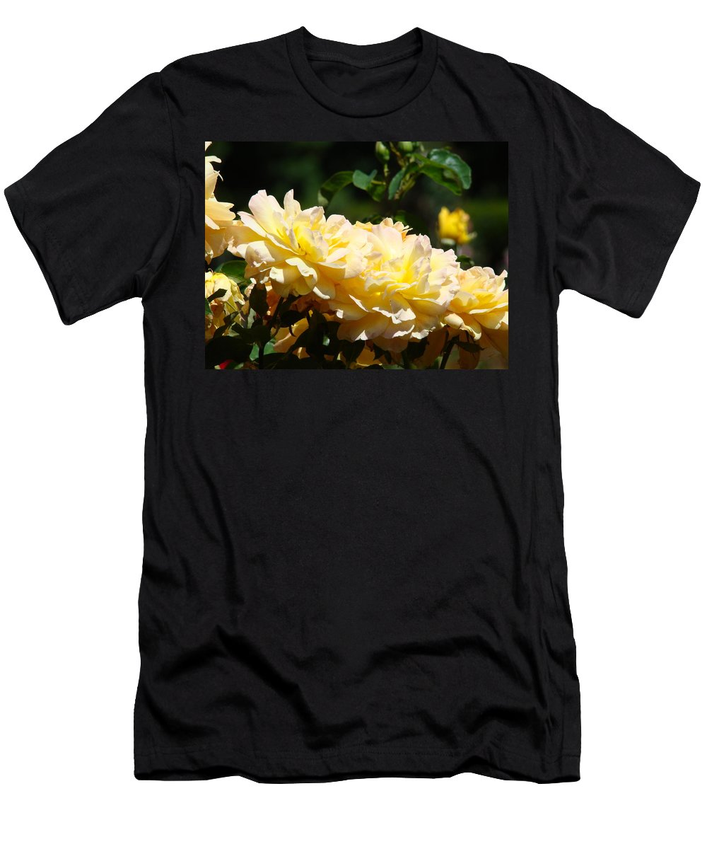 Rose Men's T-Shirt (Athletic Fit) featuring the photograph Yellow Roses Sunlit Rose Flowers 1 Rose Garden Giclee Artwork Baslee Troutman by Baslee Troutman