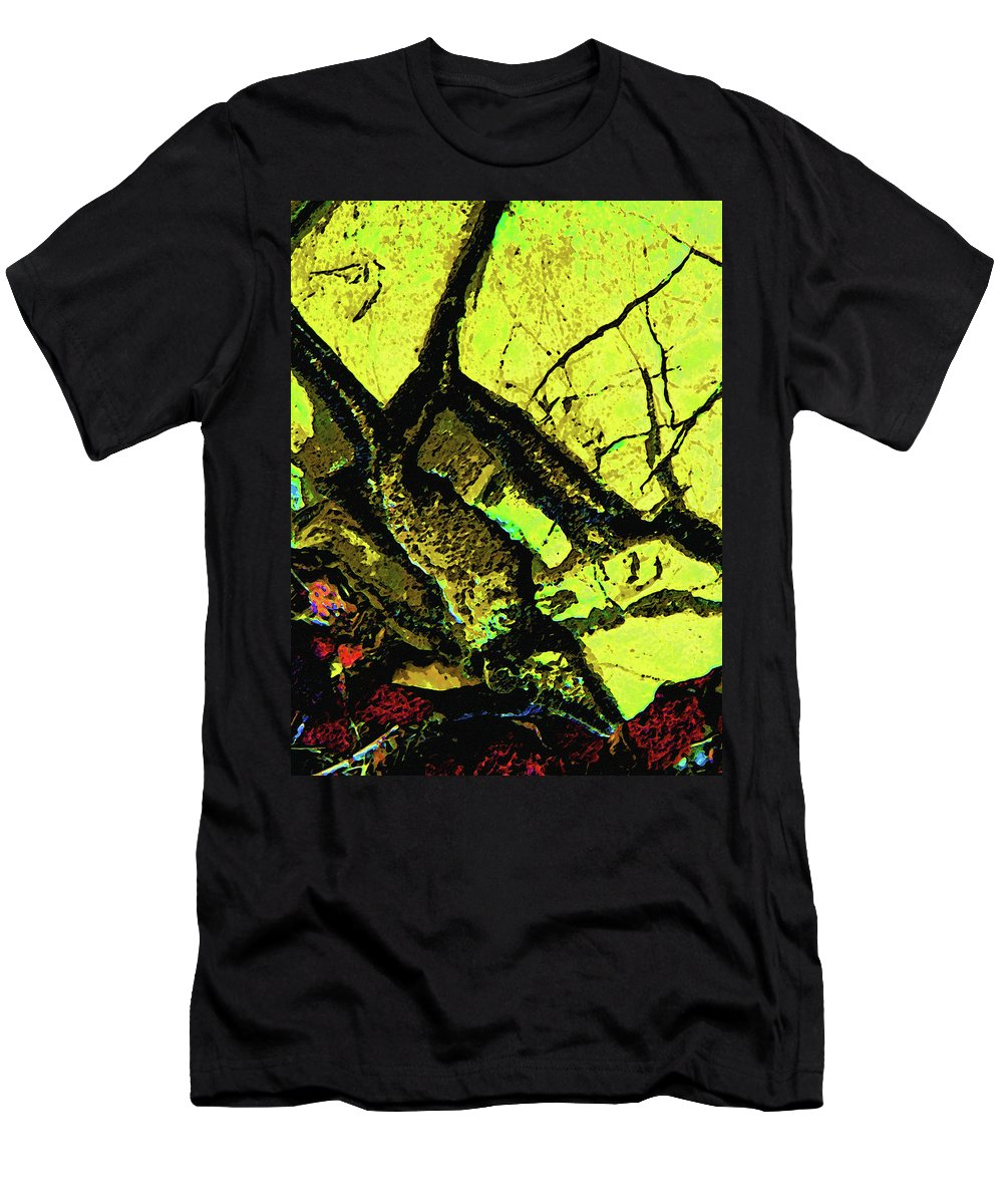 Abstract Men's T-Shirt (Athletic Fit) featuring the photograph Yellow Sky With Dead Cedar by Lenore Senior