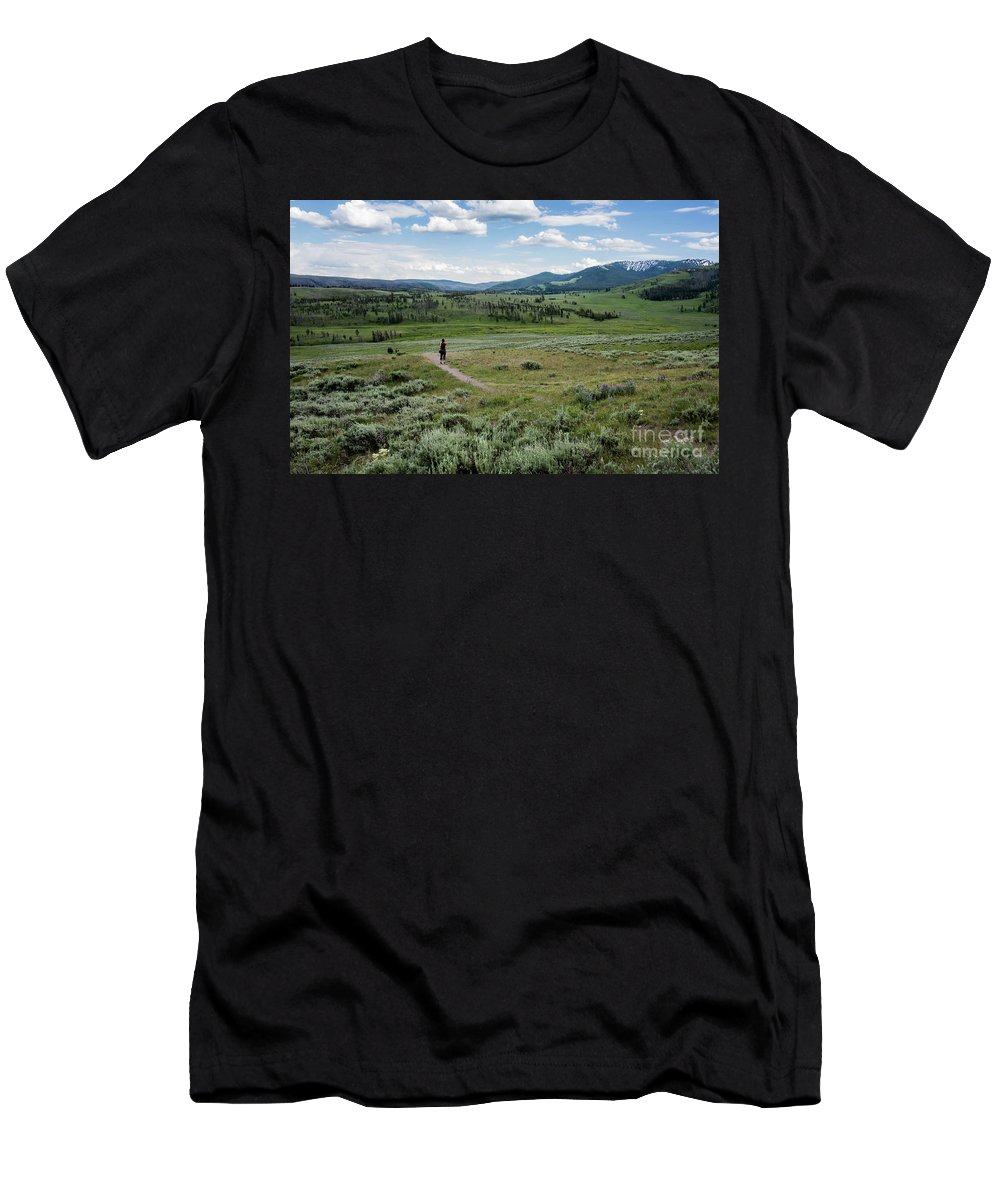 Yellow Stone Mountains Men's T-Shirt (Athletic Fit) featuring the photograph Yellow Stone Mountains by Mae Wertz