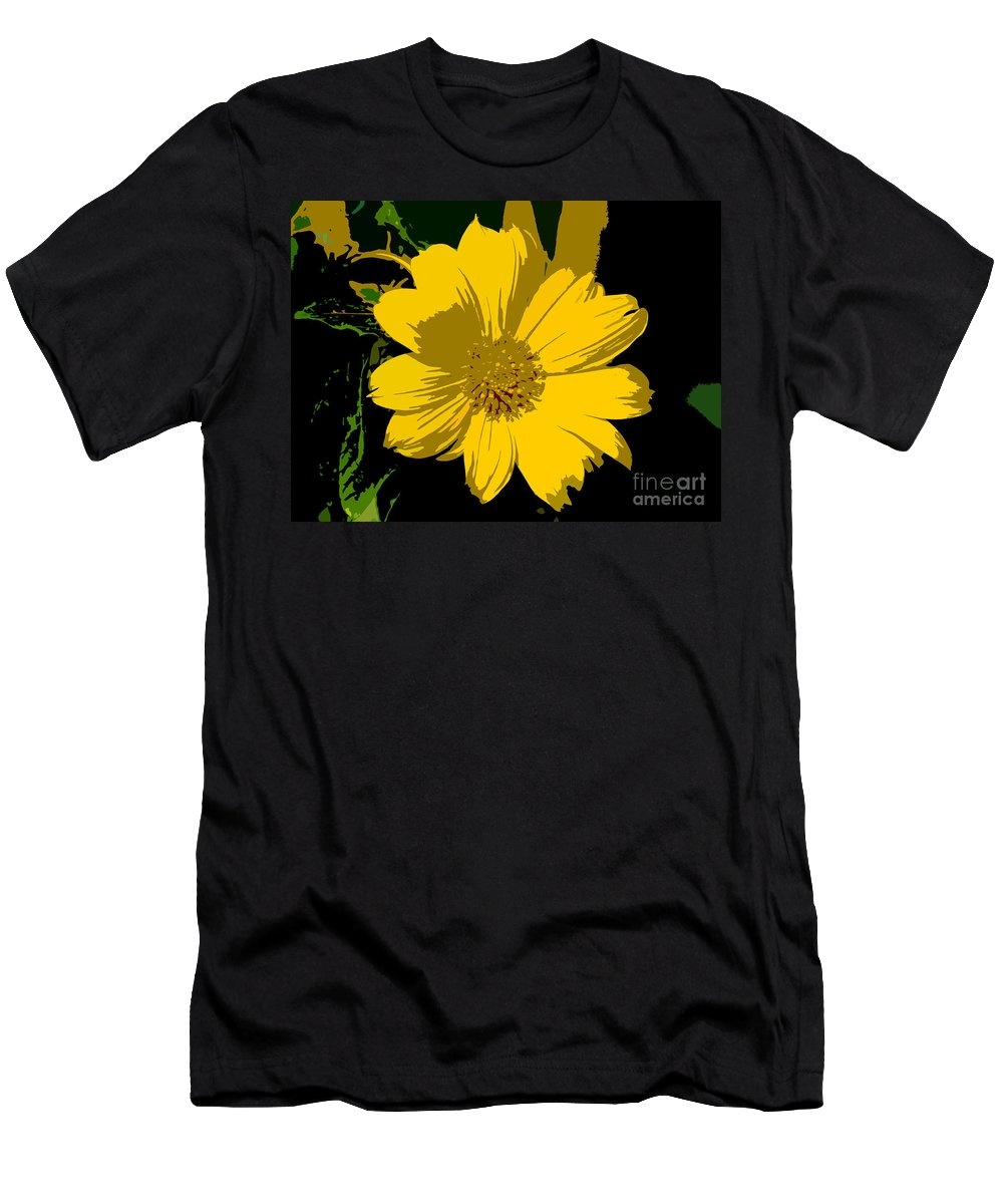 Flower Men's T-Shirt (Athletic Fit) featuring the photograph Yellow Sunshine Work Number 8 by David Lee Thompson
