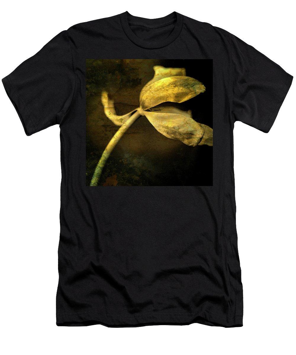 Studio Shot Men's T-Shirt (Athletic Fit) featuring the photograph Yellow Tulip by Bernard Jaubert