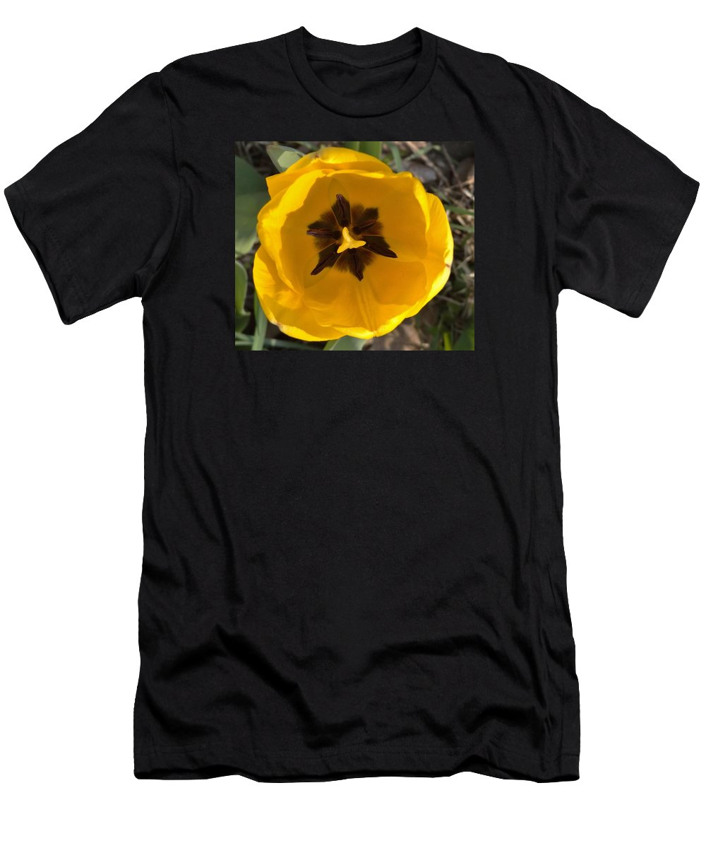 Tulip Men's T-Shirt (Athletic Fit) featuring the photograph Yellow Tulip Head   Spring  Indiana by Rory Cubel