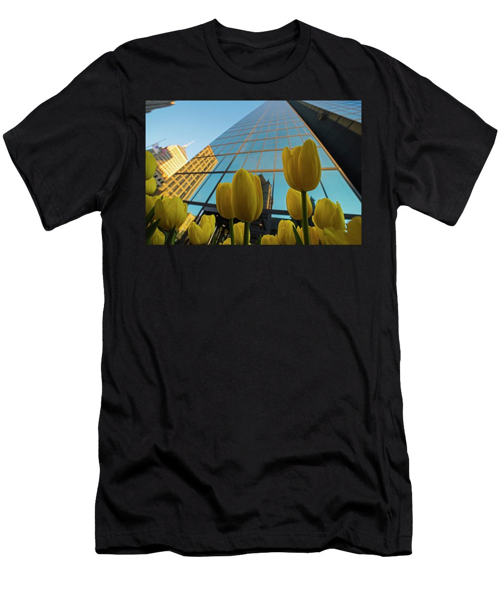 Boston Men's T-Shirt (Athletic Fit) featuring the photograph Yellow Tulips Looking Up At The Hancock Boston Ma by Toby McGuire