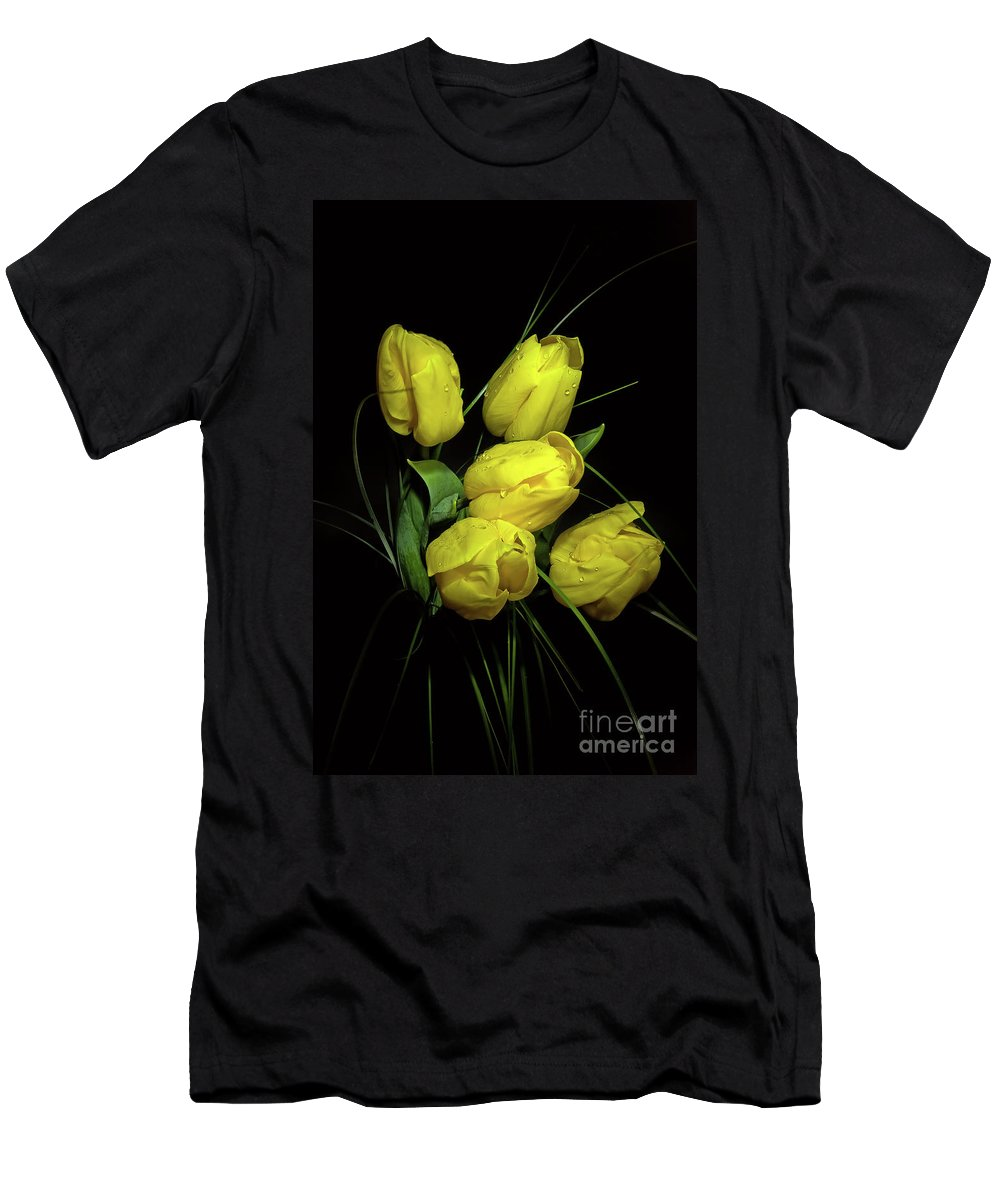 Bud Men's T-Shirt (Athletic Fit) featuring the photograph Yellow Tulips by Nataly Raikhel