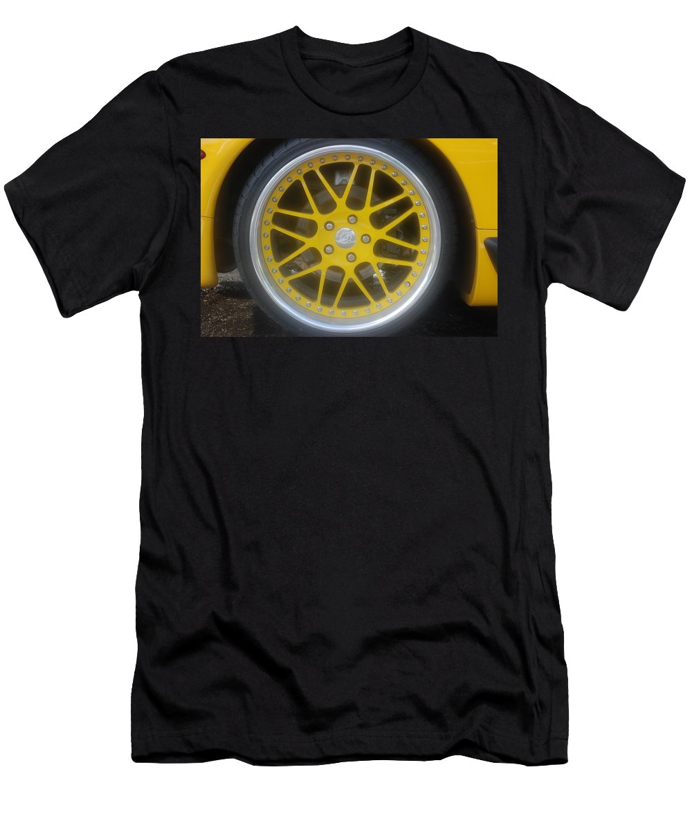 Corvette Men's T-Shirt (Athletic Fit) featuring the photograph Yellow Vette Wheel by Rob Hans