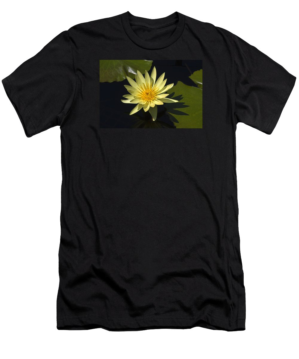 Yellow Water Lily Men's T-Shirt (Athletic Fit) featuring the photograph Yellow Water Lily by Sally Weigand