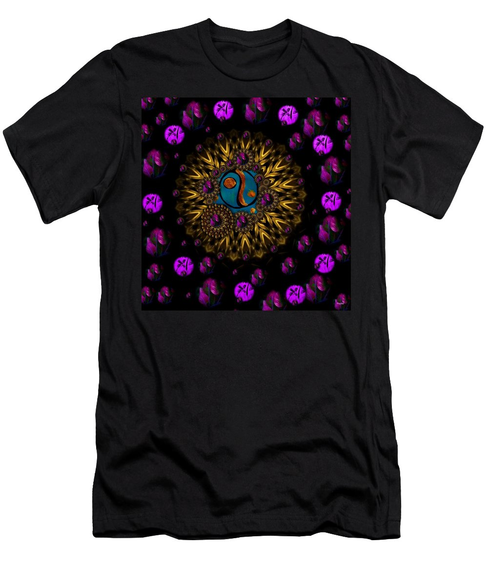 Acryl Men's T-Shirt (Athletic Fit) featuring the mixed media Yin And Yang Collage by Pepita Selles