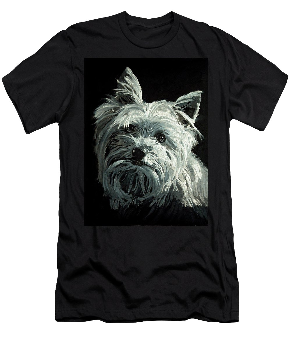 Animals Men's T-Shirt (Athletic Fit) featuring the painting Yorkie by Portraits By NC