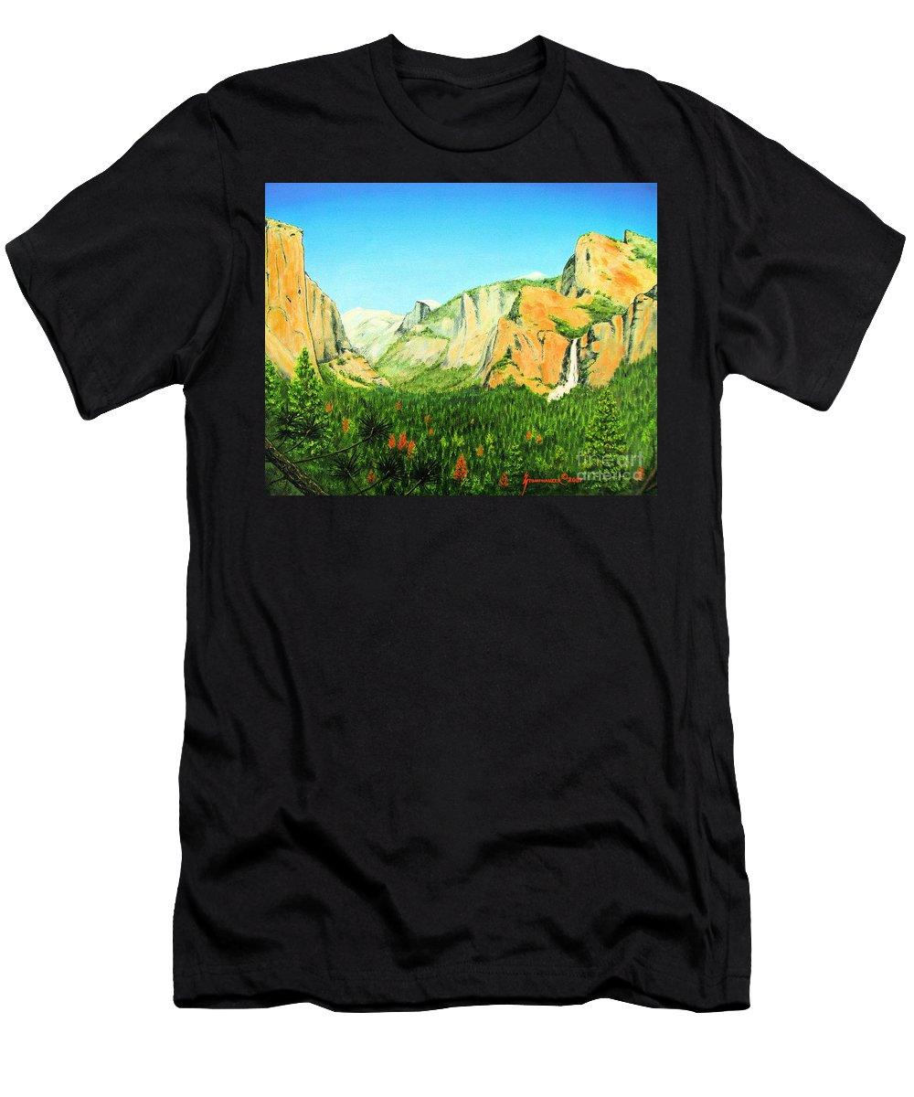 Yosemite National Park Men's T-Shirt (Athletic Fit) featuring the painting Yosemite National Park by Jerome Stumphauzer