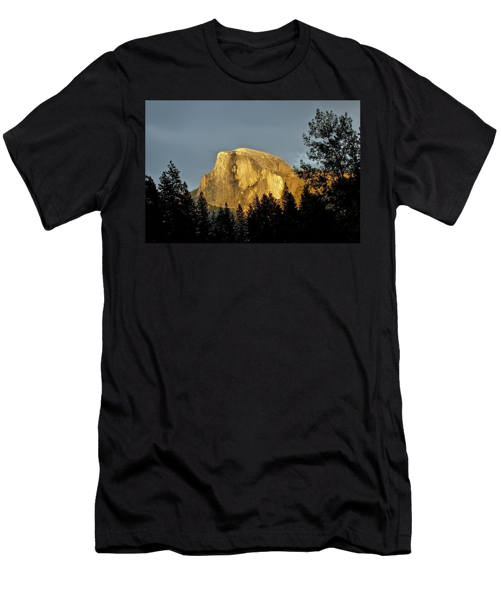 Yosemite Men's T-Shirt (Athletic Fit) featuring the photograph Yosemite's Half Dome At Sunset by Damon Joyce