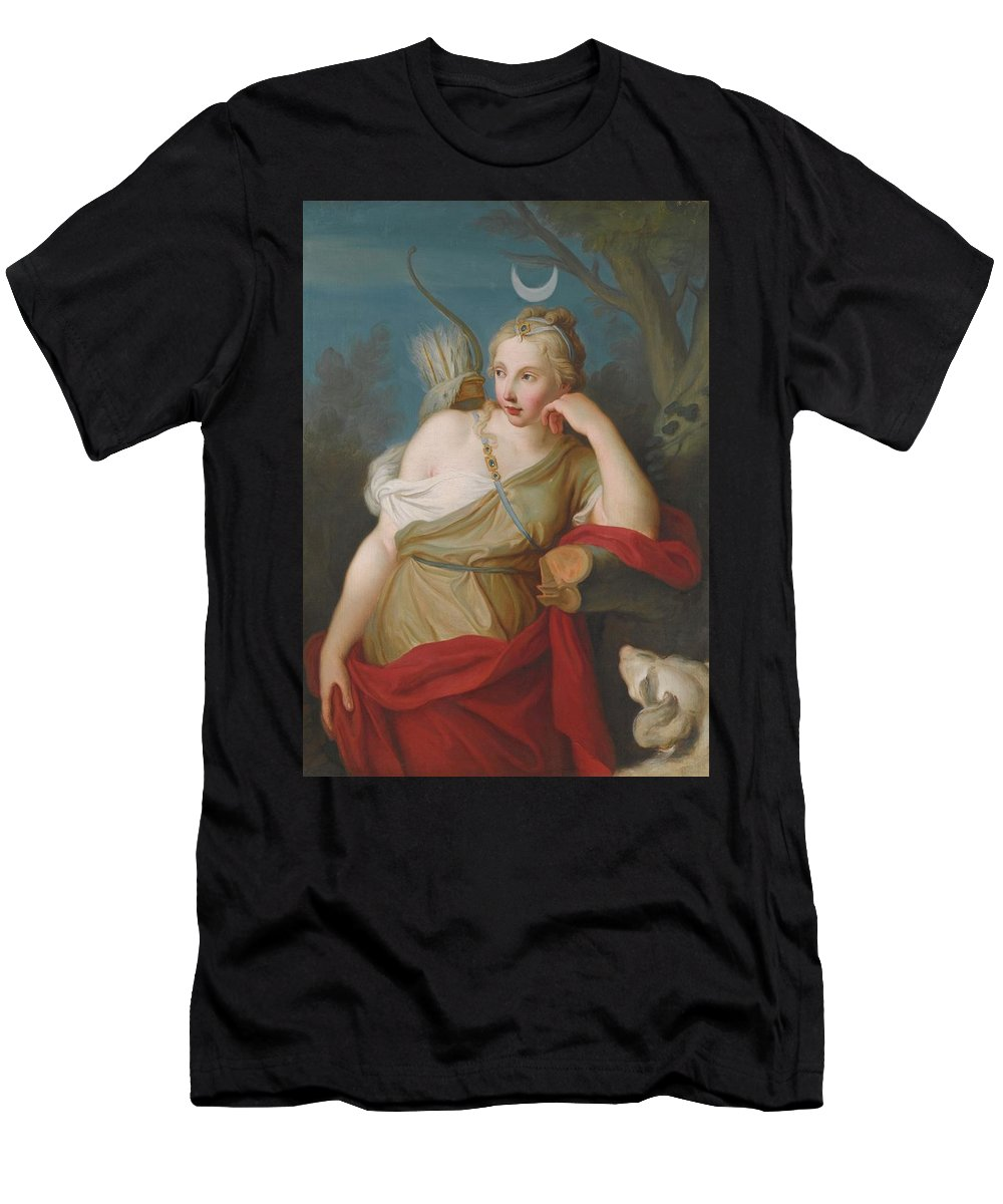 Pietro Antonio Rotari Men's T-Shirt (Athletic Fit) featuring the painting Young Archer Girl by MotionAge Designs