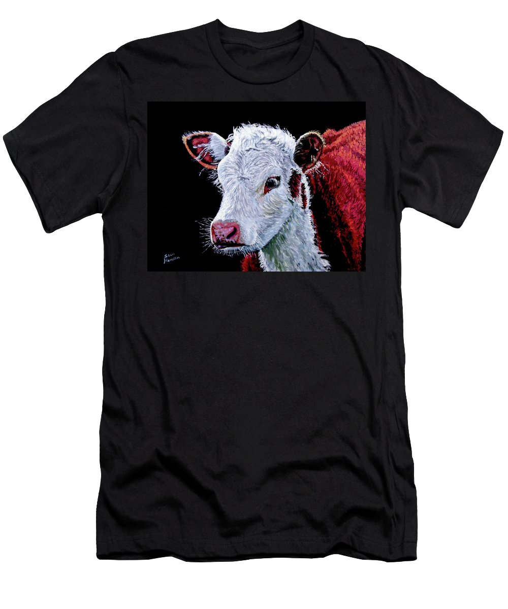 Calf Men's T-Shirt (Athletic Fit) featuring the painting Young Bull by Stan Hamilton