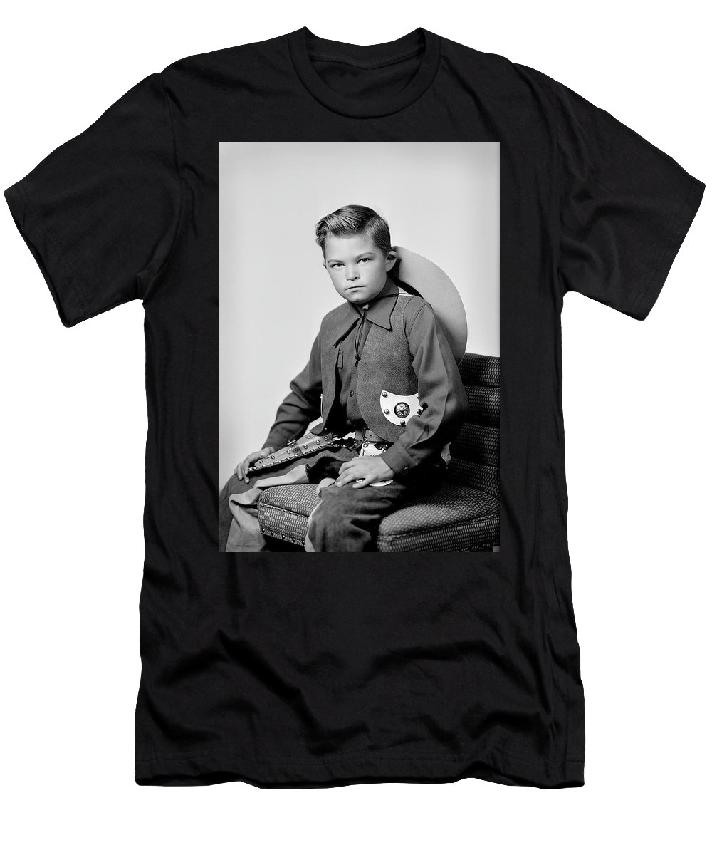 Cowboy Men's T-Shirt (Athletic Fit) featuring the photograph Young Cowboy Sitting by Seely Studio