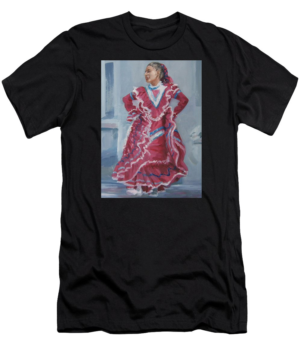 San Antonio Men's T-Shirt (Athletic Fit) featuring the painting Young Dancer At Arneson Theater by Connie Schaertl