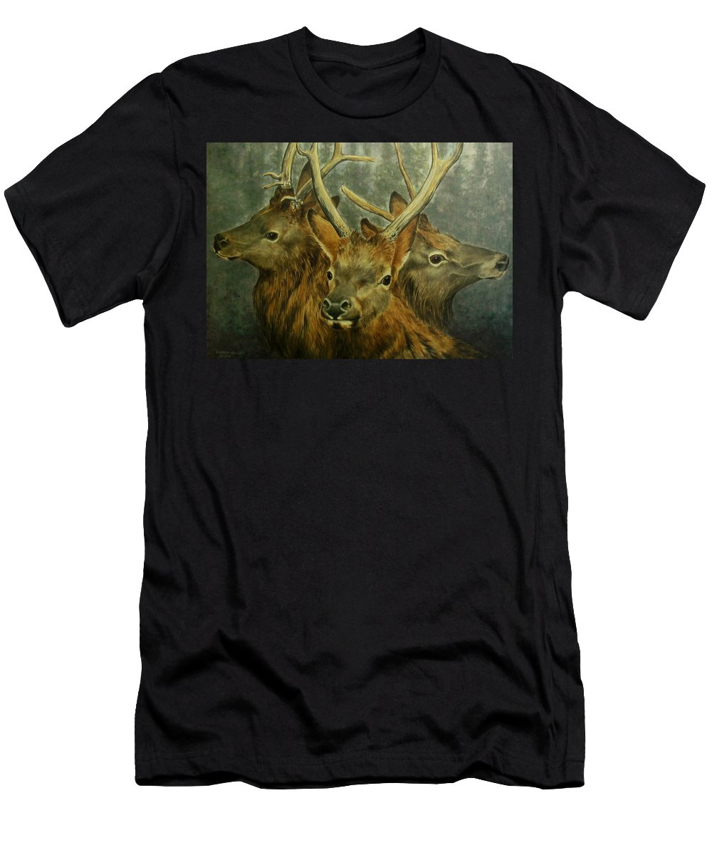 Elk Men's T-Shirt (Athletic Fit) featuring the painting Young Elk Trio- Wapiti by Elaine Booth-Kallweit