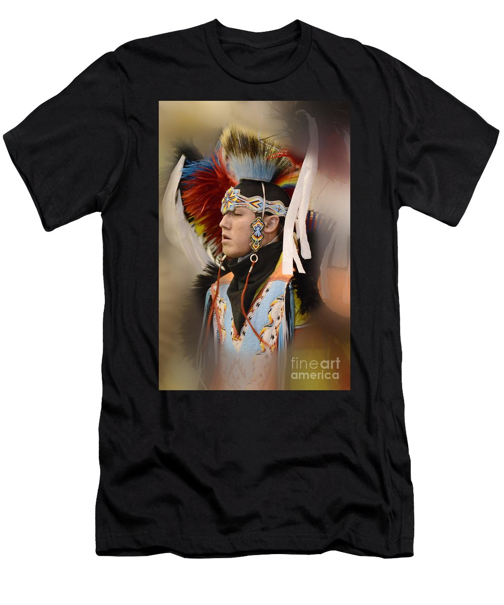 Pow Wow Men's T-Shirt (Athletic Fit) featuring the photograph Pow Wow Young Man by Bob Christopher