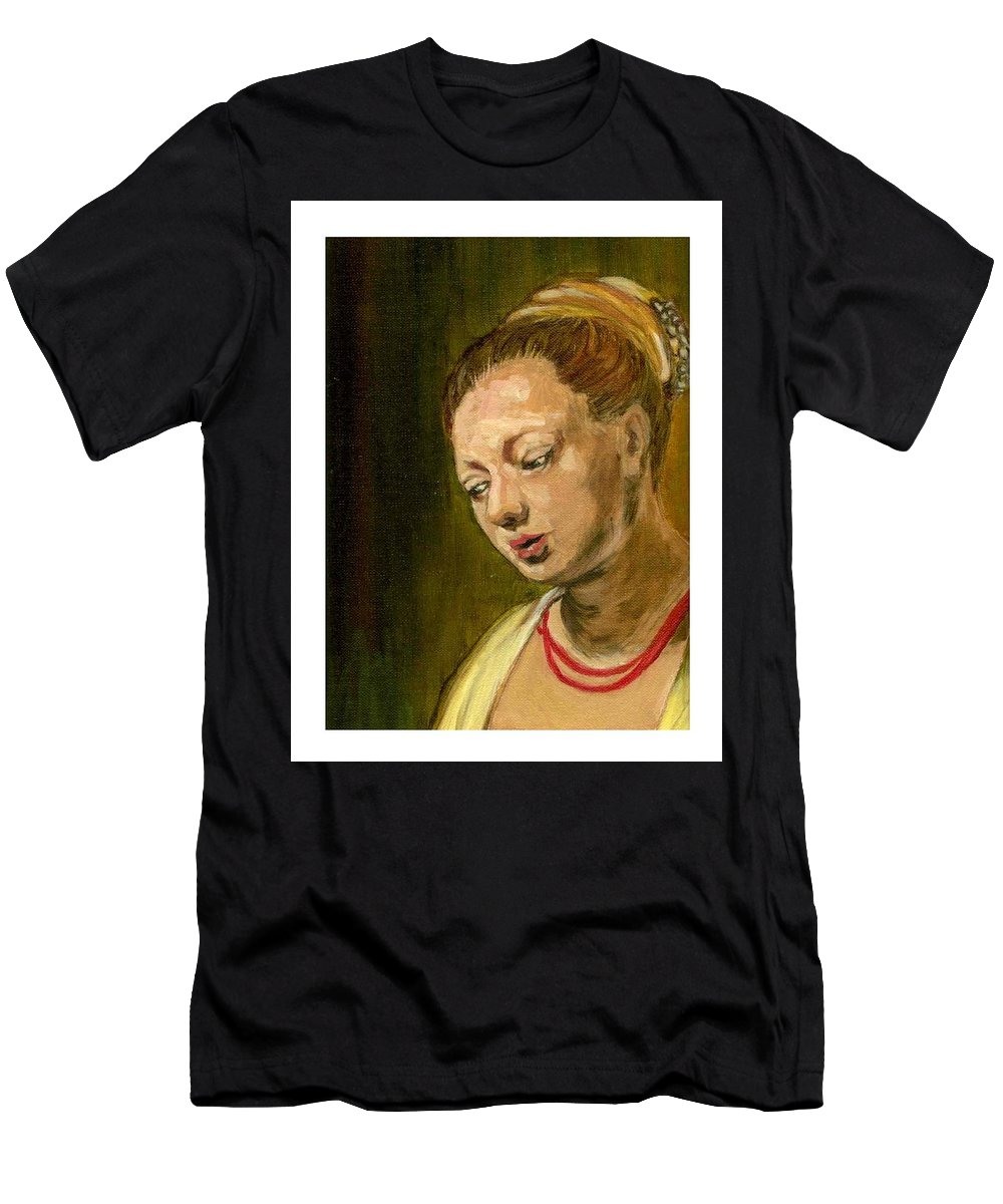 Rembrandt's Painting Men's T-Shirt (Athletic Fit) featuring the painting Young Woman by Asha Sudhaker Shenoy