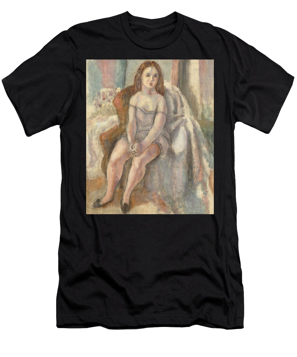 Young Woman In White Chemise Men's T-Shirt (Athletic Fit) featuring the painting Young Woman In White Chemise by Jules Pascin