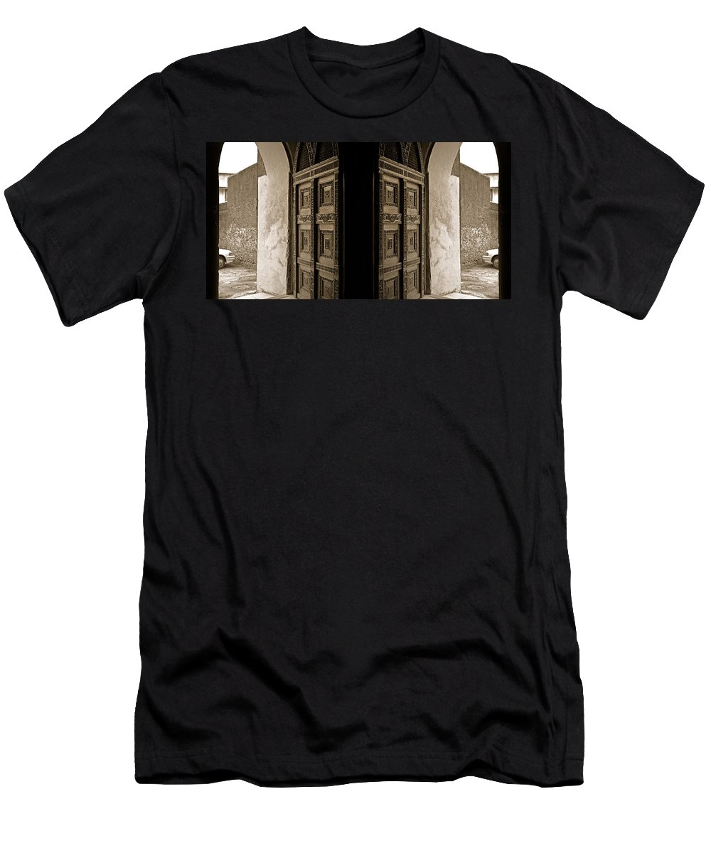 Men's T-Shirt (Athletic Fit) featuring the photograph Zanzibar Doors by Philip Schedler