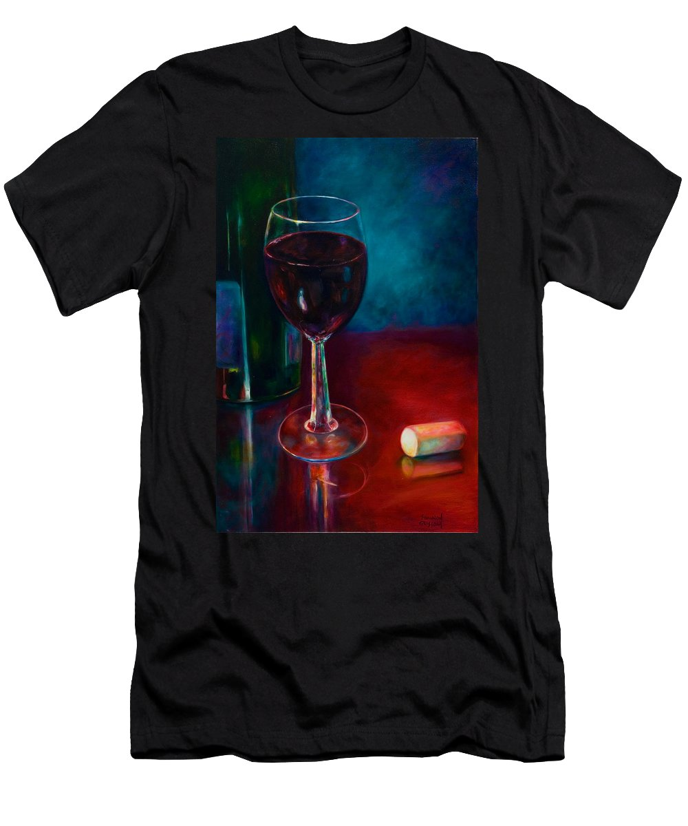 Wine Bottle T-Shirt featuring the painting Zinfandel by Shannon Grissom