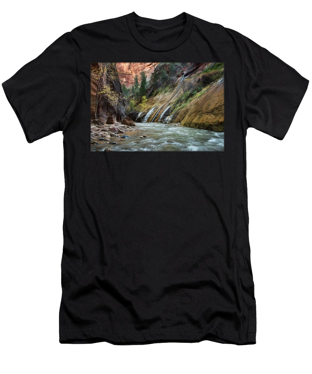 Zion Men's T-Shirt (Athletic Fit) featuring the photograph Zion Canyon by Erika Fawcett
