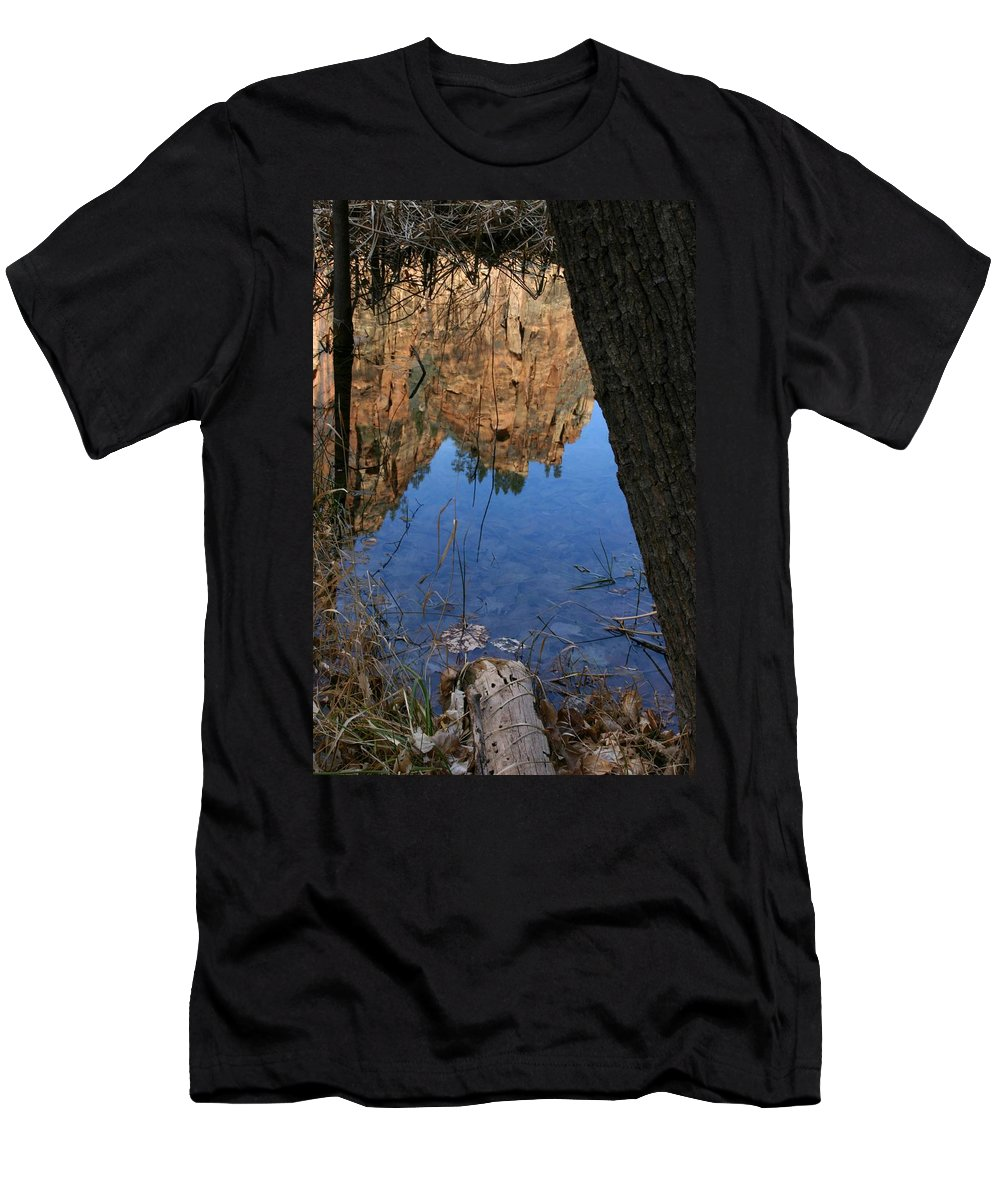 Zion Men's T-Shirt (Athletic Fit) featuring the photograph Zion Reflections by Nelson Strong
