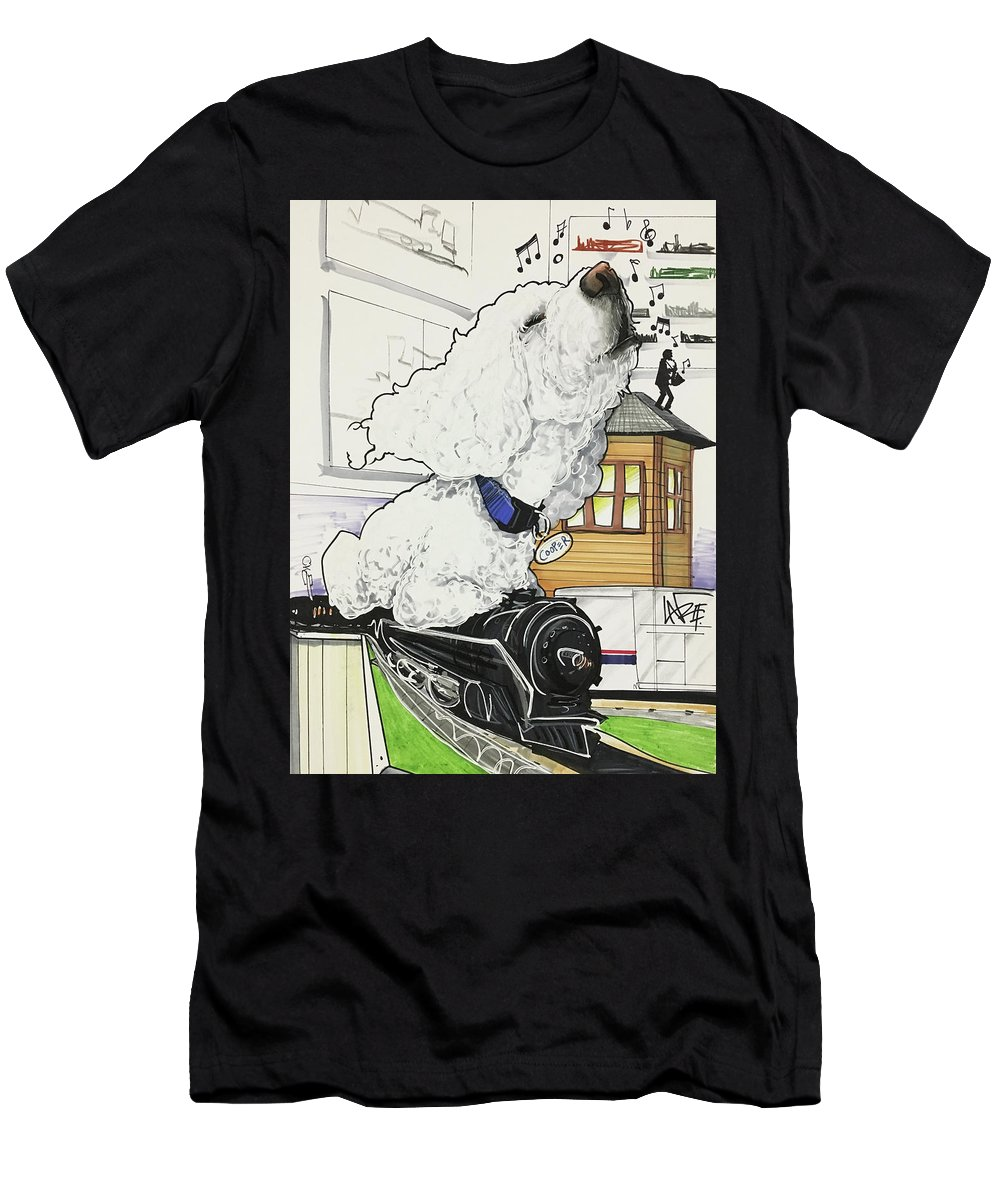 Pet Portrait Men's T-Shirt (Athletic Fit) featuring the drawing Zito 7-1460 by John LaFree