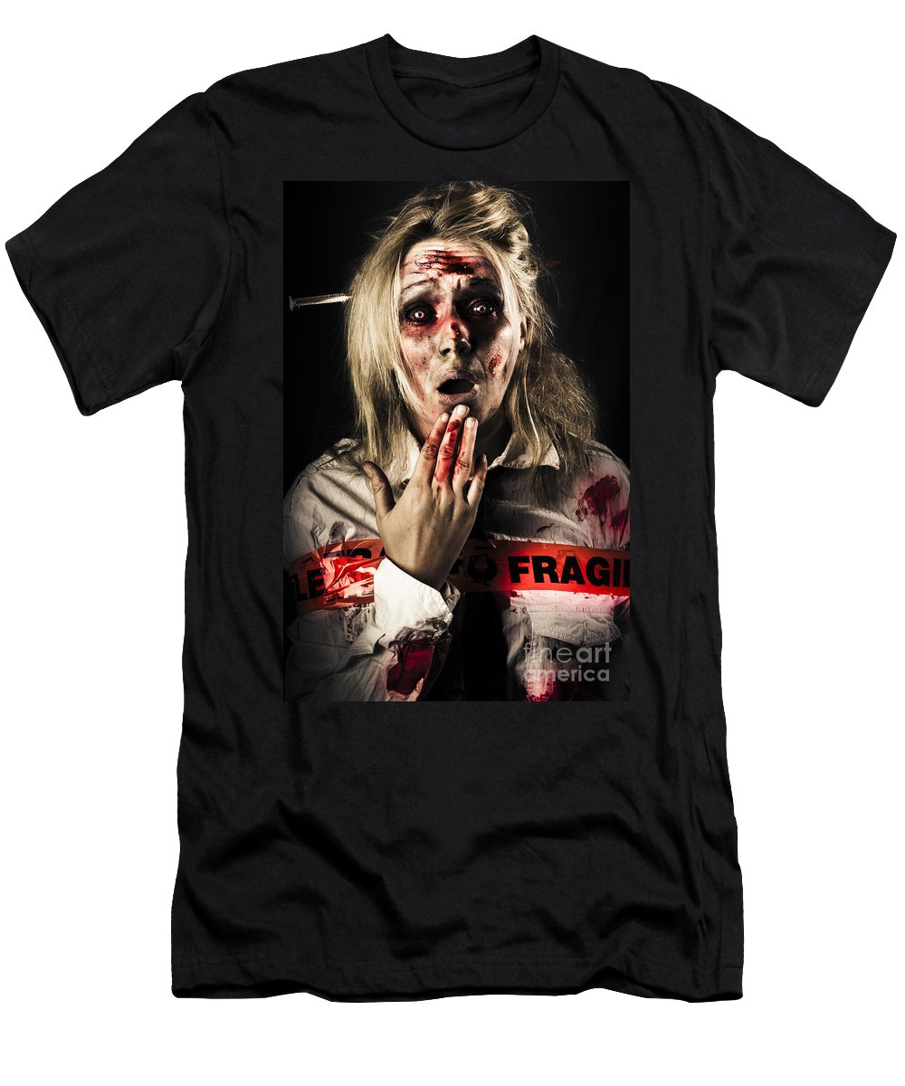 Fear Men's T-Shirt (Athletic Fit) featuring the photograph Zombie Woman Expressing Fear And Shock When Waking by Jorgo Photography - Wall Art Gallery
