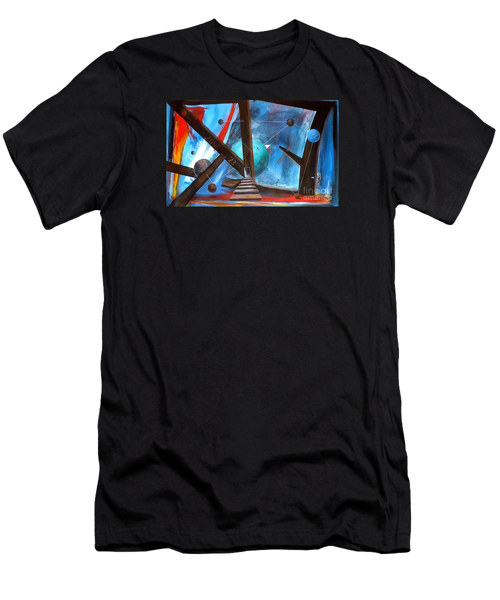 Abstract Men's T-Shirt (Athletic Fit) featuring the painting Zone 23 by Arturas Slapsys