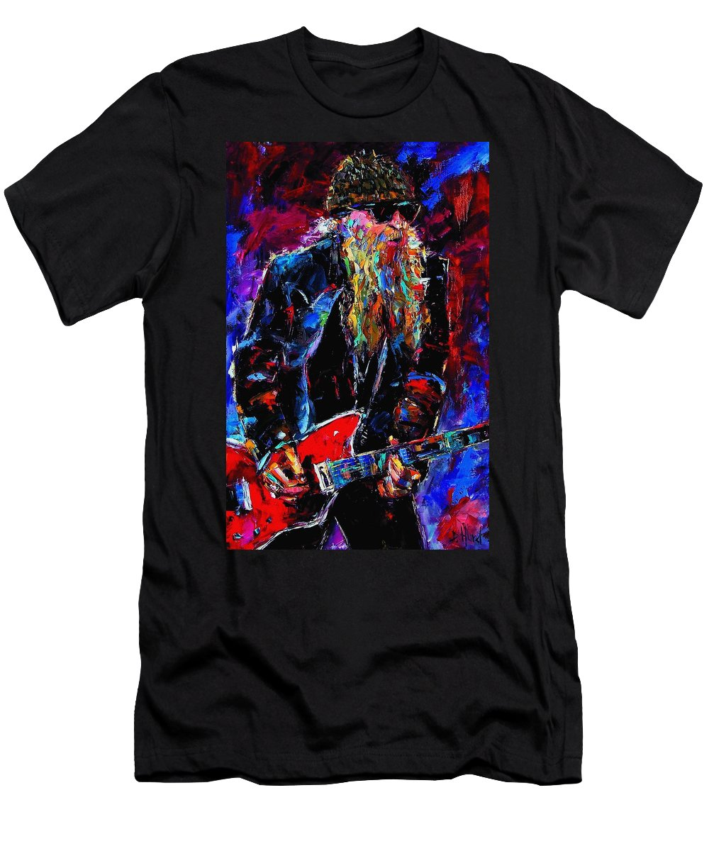 Music Men's T-Shirt (Athletic Fit) featuring the painting Zz Top Billie Gibbons by Debra Hurd