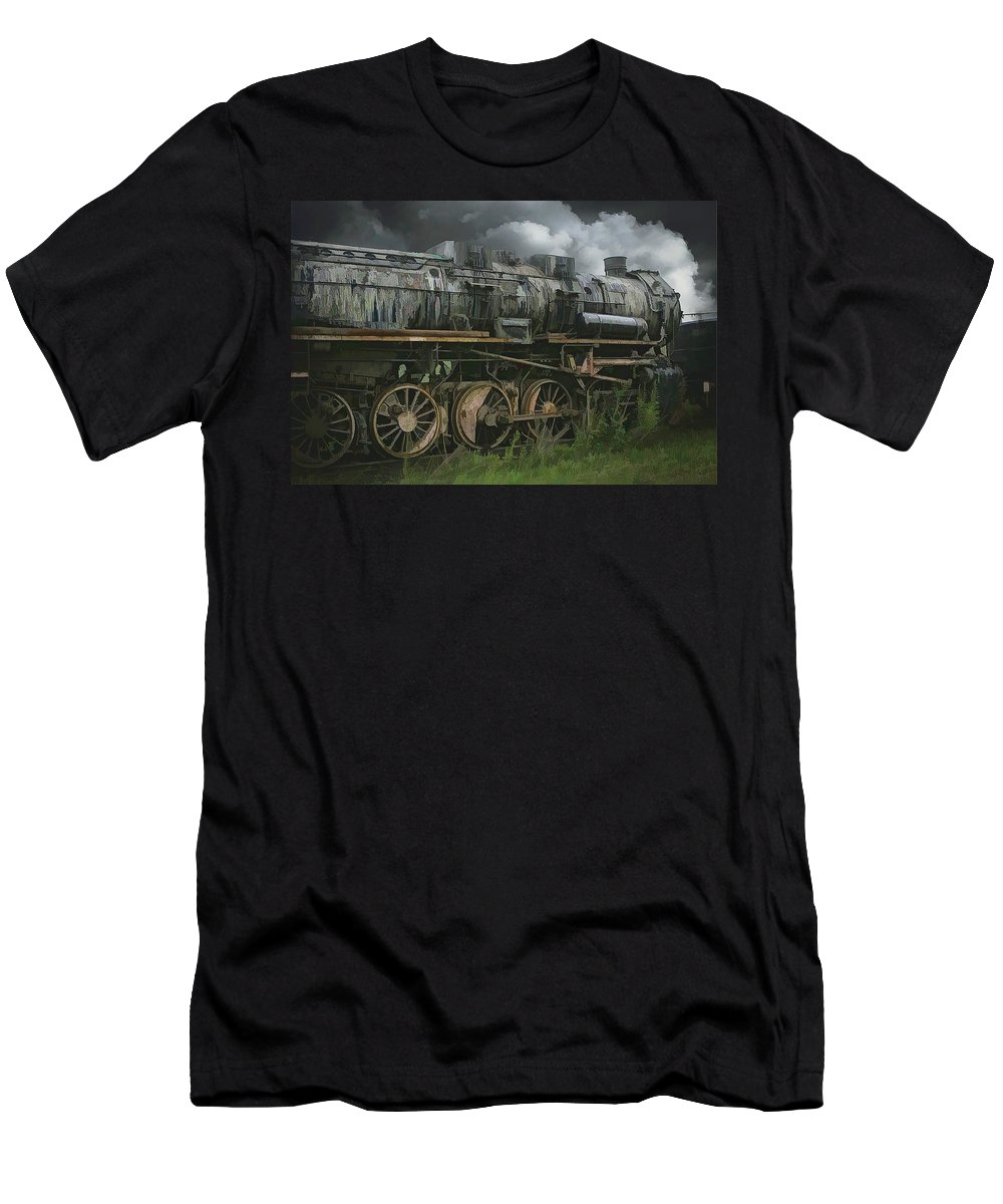 Abstract Men's T-Shirt (Athletic Fit) featuring the photograph Abandoned Steam Locomotive by Robert Kinser