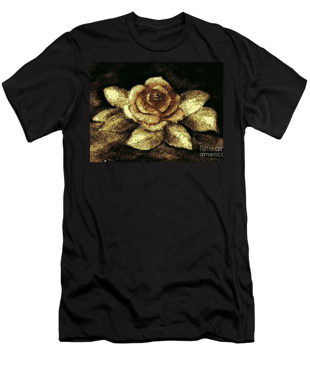 Antique Gold Rose Men's T-Shirt (Athletic Fit) featuring the painting Antique Gold Rose by Hazel Holland