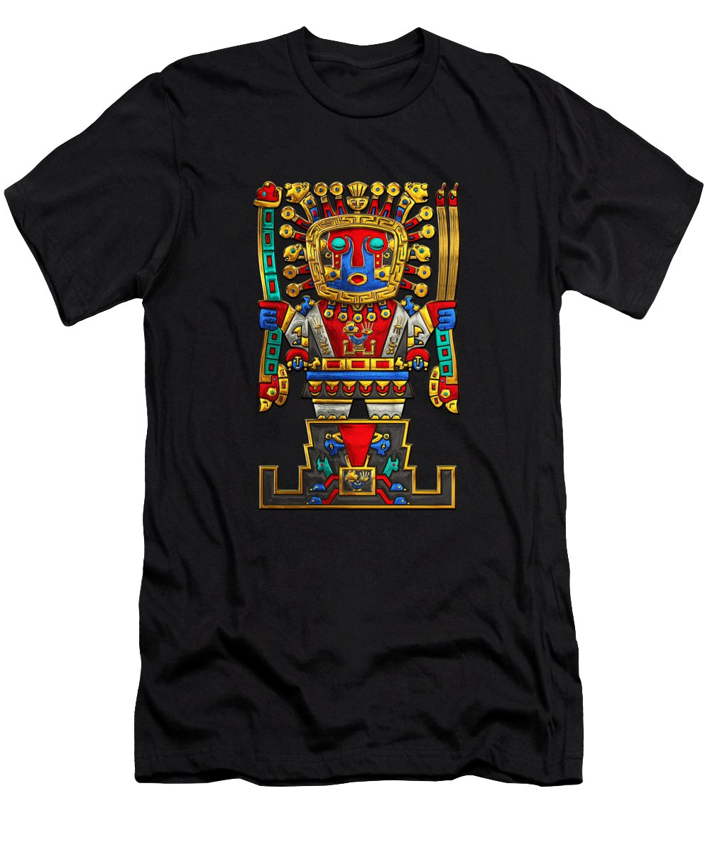 'treasures Of Pre-columbian America' Collection By Serge Averbukh Men's T-Shirt (Athletic Fit) featuring the photograph Incan Gods - The Great Creator Viracocha On Black Canvas by Serge Averbukh
